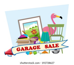 Garage Sale - Cute garage sale banner with household items in the background. Eps10