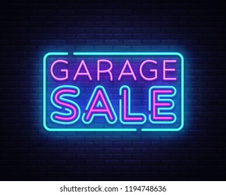 Garage Sale, discount sale concept Vector illustration in neon style, shopping and marketing concept. Neon luminous signboard, bright banner, Light advertisement