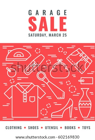 garage sale flyer template vector line stock vector royalty free