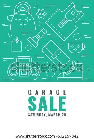 garage sale flyer template vector line stock vector royalty free