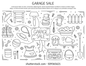 Garage sale, household used goods. Hand drawn black on white line elements. Vector horizontal banner template. Doodle background. For banners and posters, brochures, invitations, website designs.