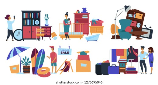 Garage sale person seller selling old stuff at home vector male with people looking at furniture and kids items to buy retro clock and cupboard books and beach objects umbrella and surfing board.