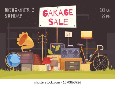 Garage sale poster with date and time symbols flat  vector illustration