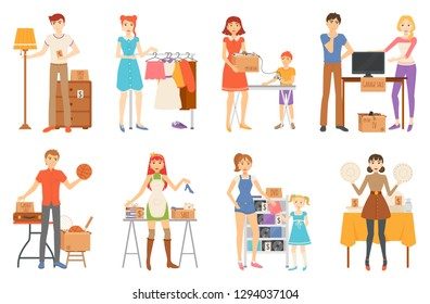 Garage sale and second hand staff, selling goods vector. Yard sale of furniture and clothes, technology and sport items, music discs and kitchenware isolated characters