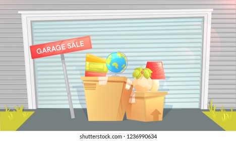 Garage sale, sign with box near a door. Outside the house. Selling things before the move. Let's moving! Vector cartoon illustration