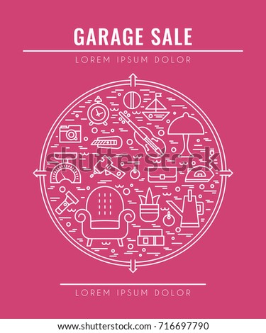 garage sale sign template poster banner stock vector royalty free