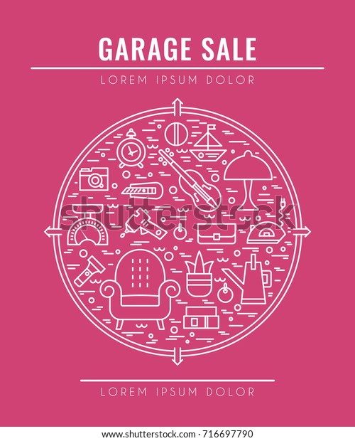 Garage Sale Sign Template Poster Banner Vintage Objects