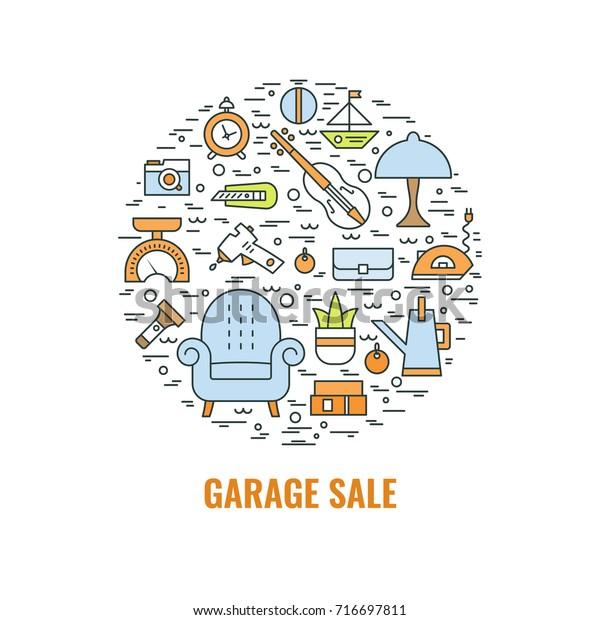 Garage Sale Sign Template Poster Banner Stock Vector