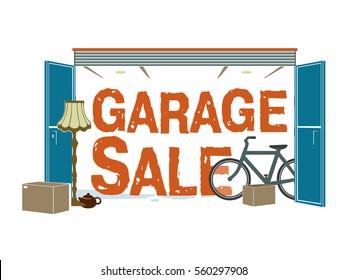 Garage sale stuff illustration vector sign logo