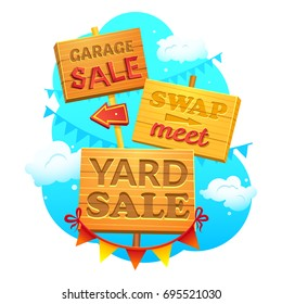 Garage sale, Swap meet, Yard sale, Information signs of wood with direction signs, vector illustration in cartoon style