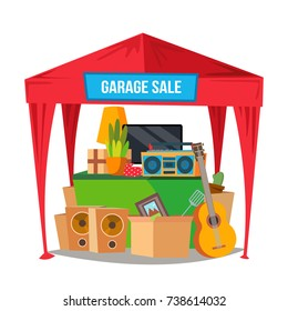 Garage Sale Vector. Sale Items. Preparing A Yard Sale. Isolated Flat Cartoon Character Illustration