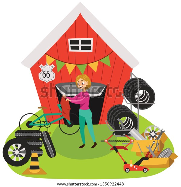 Garage Sale Woman Sell Used Car Stock Vector (Royalty Free