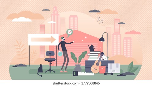 Garage sale or yard store for used goods shopping flat tiny persons concept. Used secondhand elements retail trade business in urban household property vector illustration. Informal purchase place.