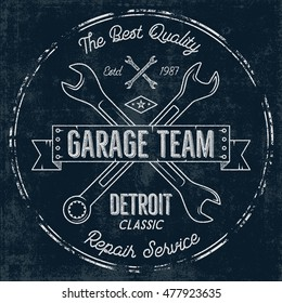 Garage service vintage tee design graphics, Detroit classic, repair service typography print. T-shirt stamp, teeshirt graphic, premium retro artwork. Use as emblem, logo on web projects. Vector.