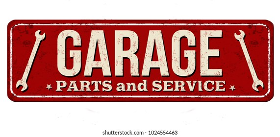 Garage vintage rusty metal sign on a white background, vector illustration