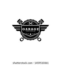 garage vintage wings badge with piston logo design