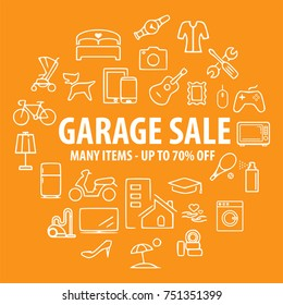 Garage or Yard Sale Banner Template. up to 70% OFF Sale Discount Banner. Special offer sale.  Household, sport and electronic Items for sale. isolated on orange background. Vector illustration.