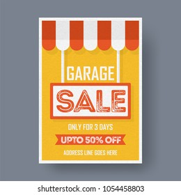 Garage or yard sale event announcement printable poster or banner template.