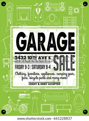 garage yard sale signs box household stock vector royalty free