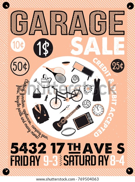 image relating to Free Printable Camping Signs titled Garage Garden Sale Symptoms Box Dwelling Inventory Vector (Royalty