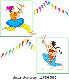 Garba, Dandia Is An Indian Form Of Dance Vector Art Illustration
