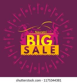 Garba Navratri Mahotsav, Garba Night, Dandiya Nights, Dandiya Night Celebration, Couple Playing Dandiya, Dandiya Dance in Navratri. Navratri Big Sale, Navratri Biggest Sale Template