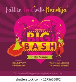 Garba Navratri Mahotsav, Garba Night, Dandiya Nights, Dandiya Night Celebration, Couple Playing Dandiya, Bash, Navratri Biggest Dance Festival Template, Navratri Big Bash Invite Template