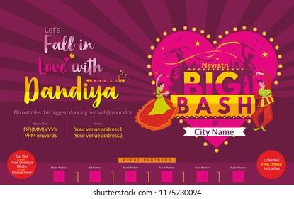 Garba Navratri Mahotsav, Garba Night, Dandiya Nights, Dandiya Night Celebration, Couple Playing Dandiya, Bash, Navratri Biggest Dance Festival Template, Navratri Big Bash Invite Print Ad