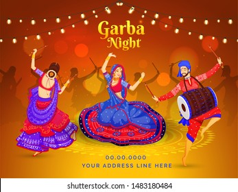 Garba Night celebration poster or banner design with illustration of women dandiya dance and drummer playing (dholak) on brown bokeh lighting background.