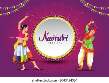 Garba Night poster for Navratri Dussehra festival of India. vector illustration of girls playing Dandiya dance.