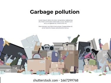 Garbage background. Seamless pattern with plastic paper organic metal and toxic waste, trash texture. Vector poster with pile of rubbish on white background, as a problem of environmental pollution