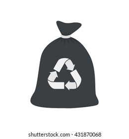 Garbage bag icon flat vector illustration isolated on white background 45ee92478b15
