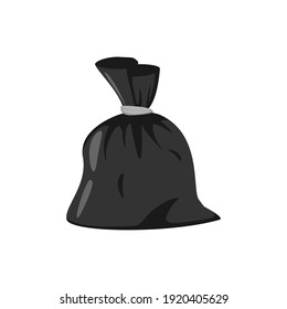 Garbage bag. Vector illustration. Isolated picture of bag on a transparent background. Cartoon clip art.