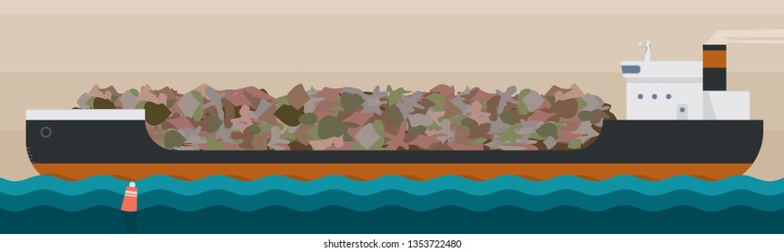 Garbage barge loaded with waste products. Vector