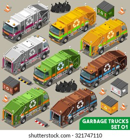 Garbage bin Collector Truck dumpster Collection. 3D Flat Icon Set. Isometric trash collect & storage Vehicle Fleet of Sanitation city Department. Rubbish can for Recycle Industry vector sign & symbol