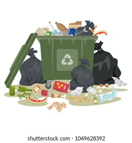 Garbage bin full of trash on white background. Ecology and recycle concept. Vector illustration.