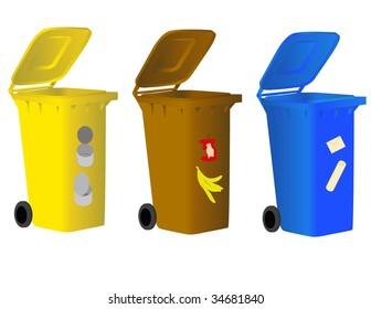 Garbage bins for sorting waste