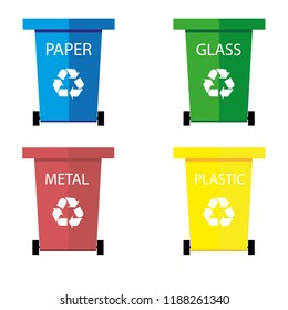 Garbage bins for waste: metal, glass, plastic, paper. Isolated on white background