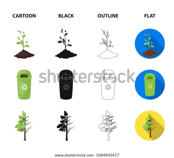 A garbage can, a diseased tree, a wind turbine, a key to a bio car.Bio and ecology set collection icons in cartoon,black,outline,flat style vector symbol stock illustration web.