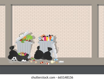 Garbage can full of overflowing trash, littering waste disposed around the dust bin on brick background, Vector illustration.