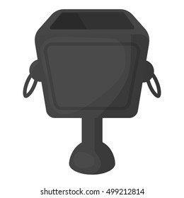 Garbage can icon in cartoon style isolated on white background. Parksymbol stock vector illustration.