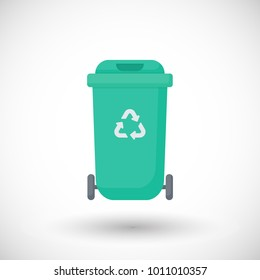 Garbage can vector icon, flat design of trash bin for recycable waste with round shadow isolated on white background, vector illustration
