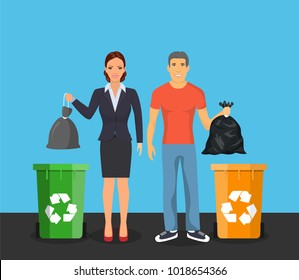Garbage can, waste bin, trash container, dumpster infographic. Keep clean or do not litter, concept