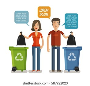 Garbage can, waste bin, trash container, dumpster infographic. Keep clean or do not litter, concept. Cartoon vector illustration