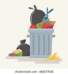 Garbage can with waste, plastic bags, trash and rubbish. Vector cartoon flat illustration isolated on white background.