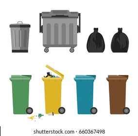 Garbage cans and bags in flat style. Vector icons of garbage bags, dumpsters and cans.