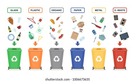 Garbage cans isolated on white background. Ecology and recycle concept. Sorting garbage. Vector flat illustration.
