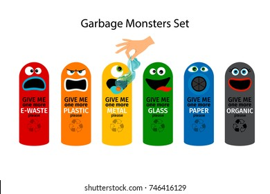 Garbage cans for kids with cartoon monster faces, vector illustration