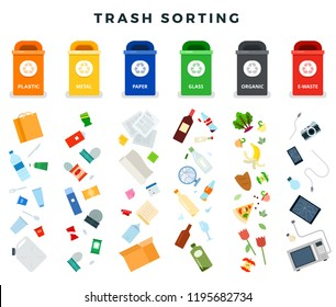 Garbage cans with sorted garbage. Ecology and Sorting garbage flat vector. Recycle trash cans isolated on white background
