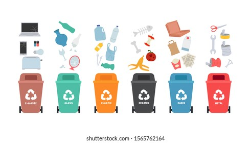 Garbage cans with sorted garbage set. Waste sorting. A large collection of types of garbage: organic, plastic, metal, paper, glass, electronic waste. Vector illustration